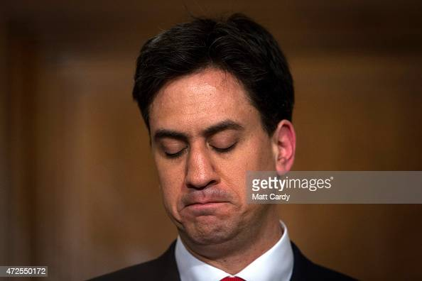 Labour Party leader Ed Miliband makes his resignation speech at a press conference in Westminster on May 8 2015 in London England After the United...