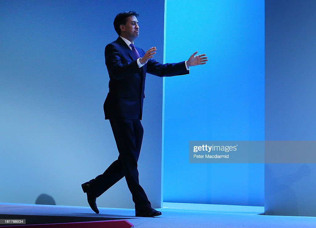 Labour party leader <a gi-track='captionPersonalityLinkClicked' href=/galleries/search?phrase=Ed+Miliband&family=editorial&specificpeople=4376337 ng-click='$event.stopPropagation()'>Ed Miliband</a> reaches out to kiss party worker Monique Shockness (not in photo) at the Labour Party conference on September 25, 2013 in Brighton, England. Party leader <a gi-track='captionPersonalityLinkClicked' href=/galleries/search?phrase=Ed+Miliband&family=editorial&specificpeople=4376337 ng-click='$event.stopPropagation()'>Ed Miliband</a> finished the four day conference with a question and answer session.