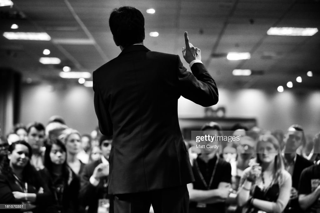 Labour party leader Ed Miliband speaks at the Young Labour annual reception at a fringe event at the Labour Party conference on September 22, 2013 in Brighton, England. The opposition Labour Party are holding their annual conference in the southern English coastal town for the next four days..