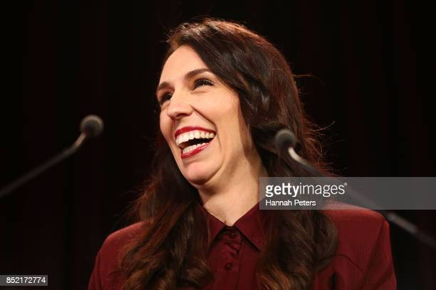 Labour Party leader Jacinda Ardern addresses her supporters as she waits for an election verdict on September 23 2017 in Auckland New Zealand Voters...