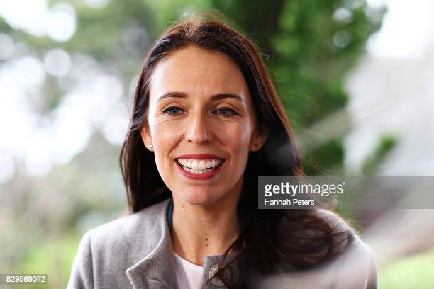Labour Party leader Jacinda Ardern is interviewed by media at Selwyn Village retirement community on August 11 2017 in Auckland New Zealand New...