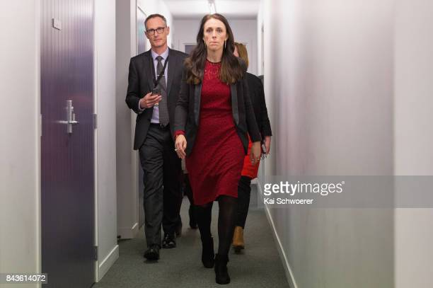 Labour Party Leader Jacinda Ardern on her way to the media scrum following The Press Leaders' Debate on September 7 2017 in Christchurch New Zealand...
