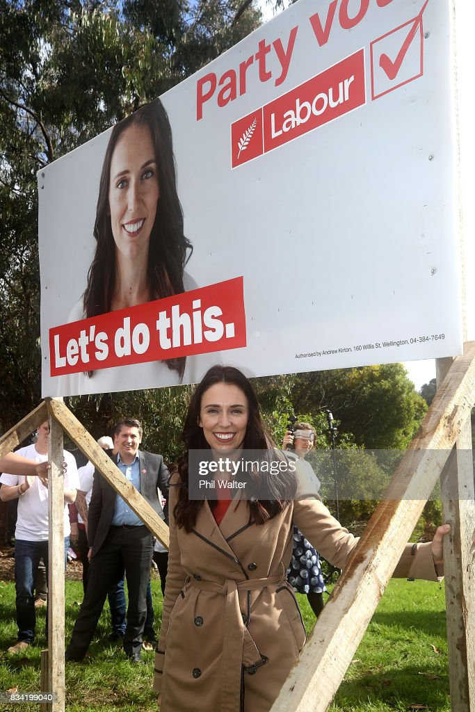 Labour's Jacinda Ardern Unveils New Campaign Hoardings