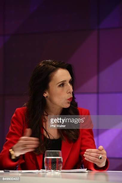 Labour party leader Jacinda Ardern speaks during the TVNZ Vote 2017 2nd Leaders Debate between Prime Minister Bill English and Labour leader Jacinda...