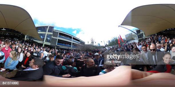 Labour Party leader Jacinda Ardern takes a selfie on a 360 degree camera as she meets students in the Auckland University Quadrant on September 1...