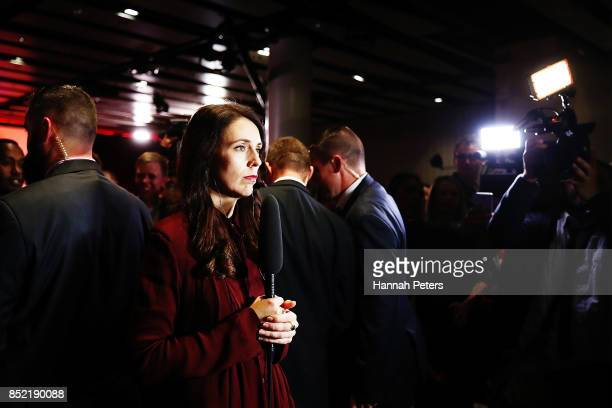 Labour Party leader Jacinda Ardern waits to be interviewed at the Labour Party election party on September 23 2017 in Auckland New Zealand With...