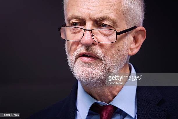 Labour Party leader Jeremy Corbyn addresses journalists during a keynote speech on the future of the economy held at the Bloomberg headquarters on...