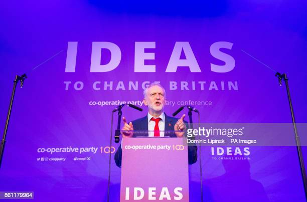 Labour Party leader Jeremy Corbyn addresses the Cooperative Party Centenary Conference at the Tower Grange Hotel in London