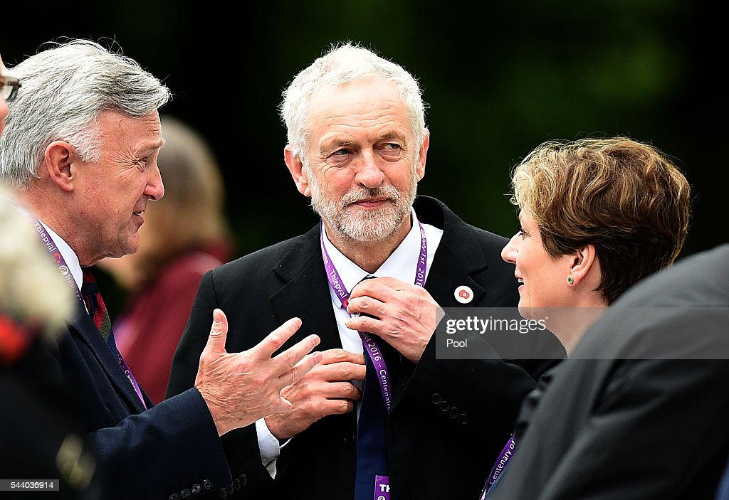Labour Party leader <a gi-track='captionPersonalityLinkClicked' href=/galleries/search?phrase=Jeremy+Corbyn&family=editorial&specificpeople=2596361 ng-click='$event.stopPropagation()'>Jeremy Corbyn</a>, (centre) adjusts his collar as he waits to take his seat at the Commemoration of the Centenary of the Battle of the Somme at the Commonwealth War Graves Commission Thiepval Memorial on July 1, 2016 in Thiepval, France. The event is part of the Commemoration of the Centenary of the Battle of the Somme at the Commonwealth War Graves Commission Thiepval Memorial in Thiepval, France, where 70,000 British and Commonwealth soldiers with no known grave are commemorated.