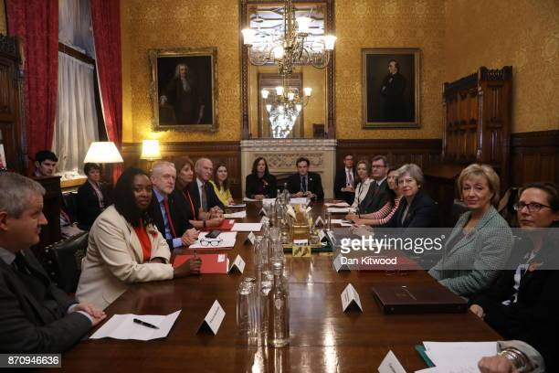 Labour Party Leader Jeremy Corbyn and British Prime Minister Theresa May discuss sexual abuse claims with Westminster party leaders at the Prime...