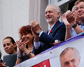 Labour Party leader Jeremy Corbyn applauds a colliery band performance during the 132nd Durham Miners Gala on July 9 2016 in Durham England More than...