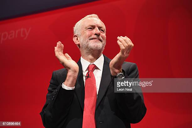 Labour party leader Jeremy Corbyn applauds after his keynote speech at the ACC on September 28 2016 in Liverpool England On the last day of the...