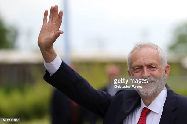 Labour Party Leader Jeremy Corbyn arrives at York University's Heslington Campus to appear on the BBC's Question Time programme on June 2 2017 in...