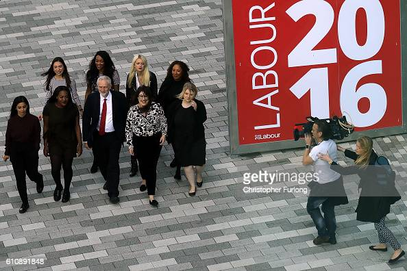 Labour party Leader Jeremy Corbyn arrives escorted by Labour Youth members ahead of his keynote speech at the ACC on September 28 2016 in Liverpool...
