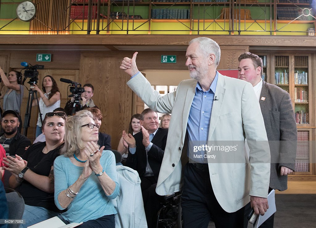 Labour Party leader Jeremy Corbyn arrives to give a post Brexit speech at the Maxwell Library in central London on June 25, 2016 in London, England. Following the UK's vote to leave the European Union there are calls within the Labour Party for Jeremy Corbyn to stand down and allow a leadership contest.