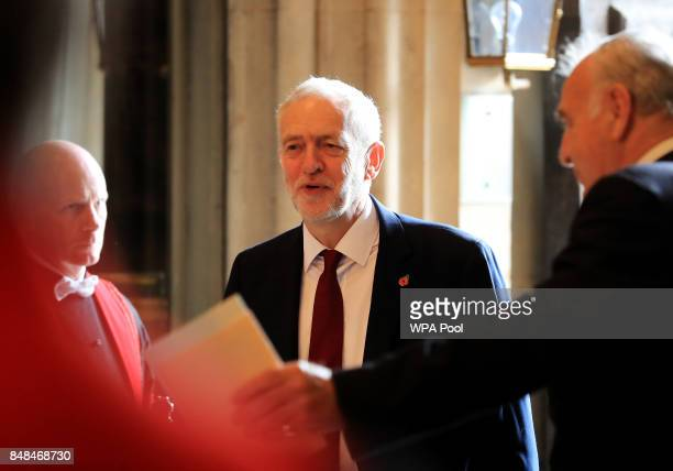 Labour party leader Jeremy Corbyn attends a service marking the 77th anniversary of the Battle of Britain at Westminster Abbey on September 17 2017...