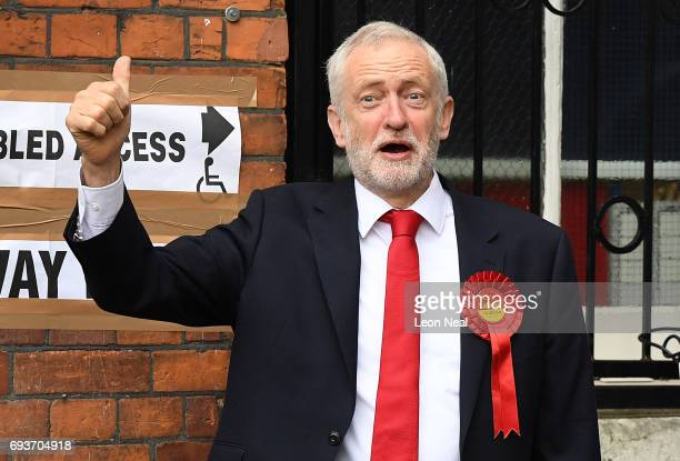 Labour party leader Jeremy Corbyn casts his vote at a polling station at Pakeman Primary School on June 8 2017 in London England Polling stations...