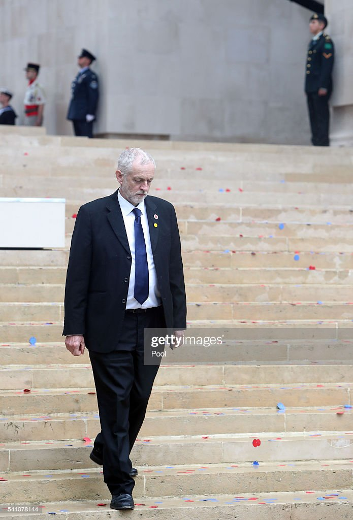 Labour Party leader Jeremy Corbyn during the Commemoration of the Centenary of the Battle of the Somme at the Commonwealth War Graves Commission Thiepval Memorial on July 1, 2016 in Thiepval, France. The event is part of the Commemoration of the Centenary of the Battle of the Somme at the Commonwealth War Graves Commission Thiepval Memorial in Thiepval, France, where 70,000 British and Commonwealth soldiers with no known grave are commemorated.