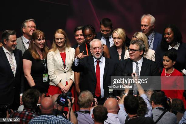 Labour party leader Jeremy Corbyn gestures as Shadow Secretary of State for International Trade Barry Gardiner Shadow Secretary of State for...