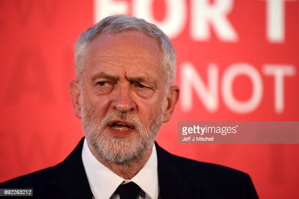 Labour party leader Jeremy Corbyn gives a speech at the County Hotel on June 4 2017 in Carlisle England Campaigning for the election was suspended...