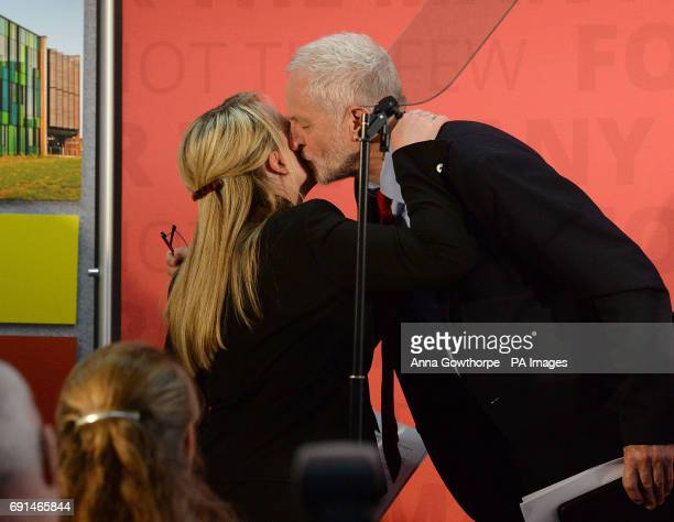 Labour Party leader Jeremy Corbyn kisses Shadow Business Secretary Rebecca LongBailey after giving a speech at York Science Park where he outlined...