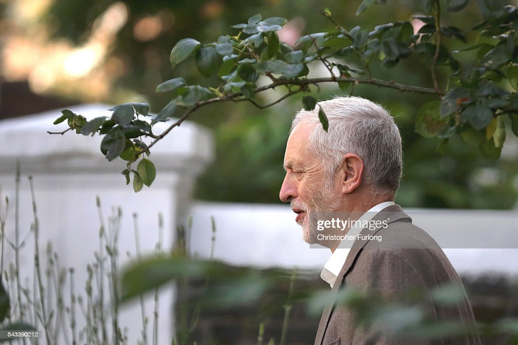 Labour Party Leader, Jeremy Corbyn leaves his home in London on June 28, 2016 in London, England. After a raft of shadow cabinet resignations Labour MP's are to vote in a motion of no confidence in their leader Jeremy Corbyn.