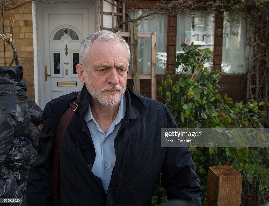 Labour party leader <a gi-track='captionPersonalityLinkClicked' href=/galleries/search?phrase=Jeremy+Corbyn&family=editorial&specificpeople=2596361 ng-click='$event.stopPropagation()'>Jeremy Corbyn</a> leaves his home in the morning on April 29, 2016 in London, England. Mr Corbyn has denied that his party is in crisis after Ken Livingstone was suspended from the party for comments made defending an MP accused of anti-Semitism.