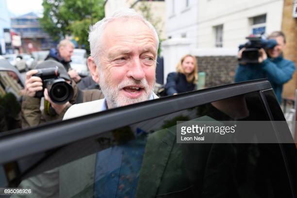 Labour Party leader Jeremy Corbyn leaves his home on June 12 2017 in London England Mr Corbyn has stated that he aims to challenge Prime Minister...