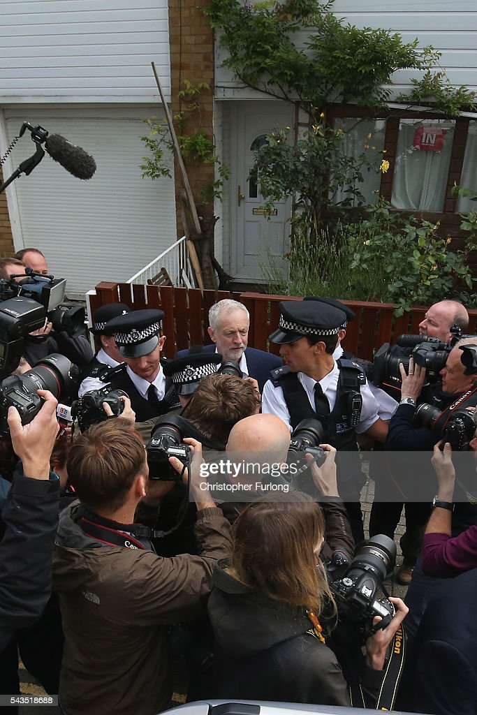 Labour Party Leader, <a gi-track='captionPersonalityLinkClicked' href=/galleries/search?phrase=Jeremy+Corbyn&family=editorial&specificpeople=2596361 ng-click='$event.stopPropagation()'>Jeremy Corbyn</a> leaves his home on June 29, 2016 in London, England. Mr Corbyn is facing a crisis within his party after losing a vote of no confidence yesterday amongst Labour MPs by 172 votes to 40.
