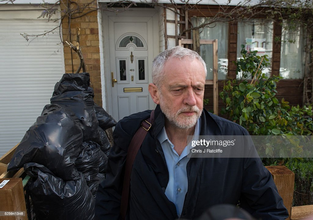 Labour party leader <a gi-track='captionPersonalityLinkClicked' href=/galleries/search?phrase=Jeremy+Corbyn&family=editorial&specificpeople=2596361 ng-click='$event.stopPropagation()'>Jeremy Corbyn</a> leaves his London home in the morning on April 29, 2016 in London, England. Mr Corbyn has denied that his party is in crisis after Ken Livingstone was suspended from the party for comments made defending an MP accused of anti-semitism.