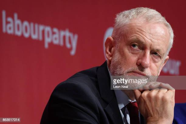 Labour Party leader Jeremy Corbyn listens to Shadow First Secretary of State Emily Thornberry as she addresses delegates in the main hall on the...