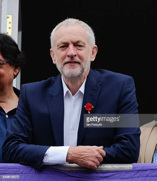 Labour Party leader Jeremy Corbyn makes his first appearance on the balcony of the County Hotel as colliery bands play below him during the 132nd...