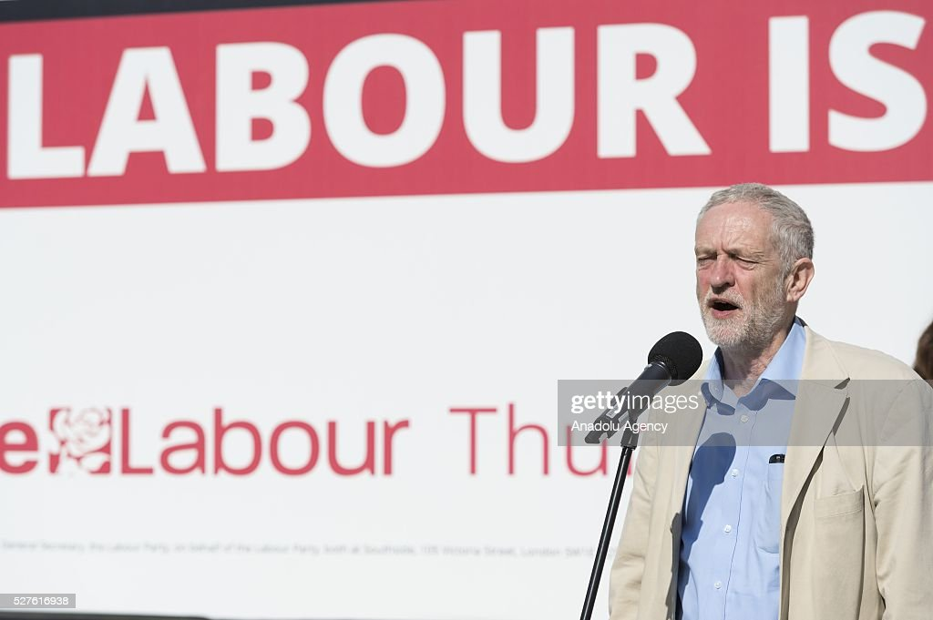 Labour Party leader Jeremy Corbyn MP unveils his party's latest poster campaign in London, United Kingdom on May 3, 2016, ahead of the forthcoming local elections on May 5.