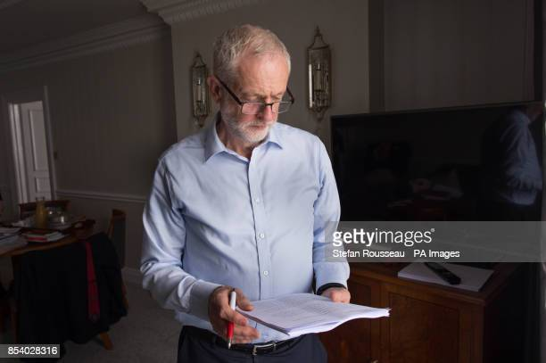 Labour Party leader Jeremy Corbyn prepares his speech that he will deliver to the Labour Party annual conference on Wednesday at the Brighton Centre...