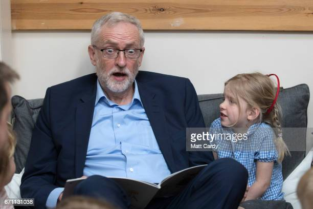 Labour party leader Jeremy Corbyn reads the book 'We're Going on a Bear Hunt' to children at a visit to Brentry ChildrenÕs Centre on April 21 2017 in...