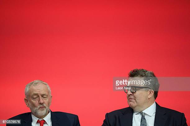Labour Party leader Jeremy Corbyn sits with Deputy leader Tom Watson on the first day of the Labour Party Conference the Exhibition Centre Liverpool...