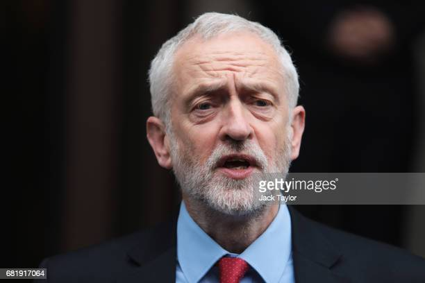 Labour Party Leader Jeremy Corbyn speaks as he leaves Labour's Clause V meeting on May 11 2017 in London United Kingdom The Labour Party's Manifesto...