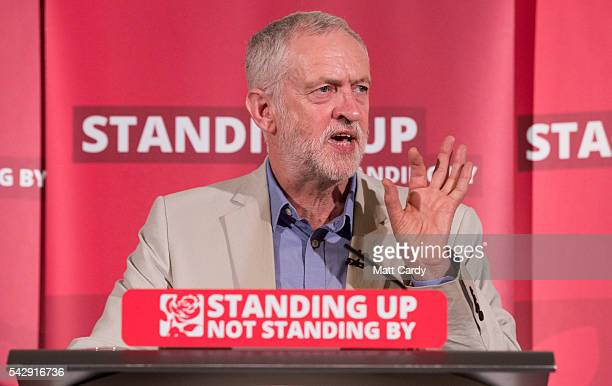 Labour Party leader Jeremy Corbyn speaks at a post Brexit speech at the Maxwell Library in central London on June 25 2016 in London England Following...