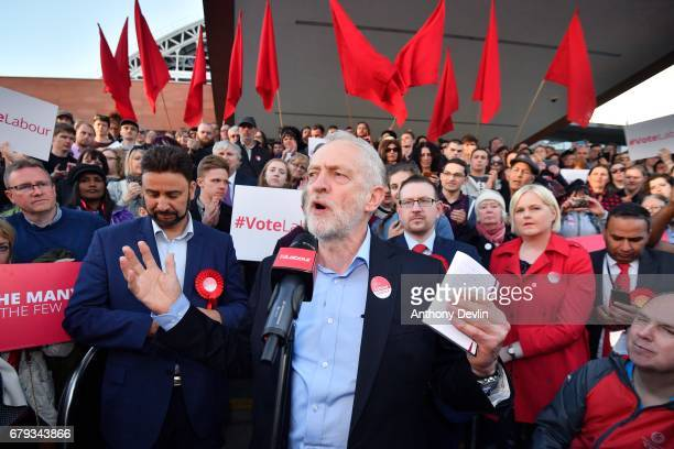 Labour party leader Jeremy Corbyn speaks during a Momentum rally outside Manchester Central on May 5 2017 in Manchester England Corbyn visited...