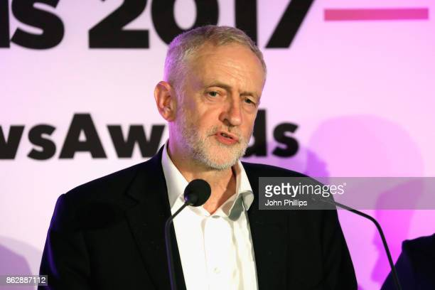 Labour Party Leader Jeremy Corbyn speaks on stage at the Pink News Awards 2017 held at One Great George Street on October 18 2017 in London England