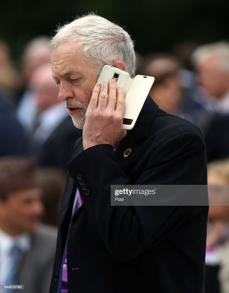 Labour Party leader <a gi-track='captionPersonalityLinkClicked' href=/galleries/search?phrase=Jeremy+Corbyn&family=editorial&specificpeople=2596361 ng-click='$event.stopPropagation()'>Jeremy Corbyn</a> speaks on the phone whilst attending the Commemoration of the Centenary of the Battle of the Somme at the Commonwealth War Graves Commission Thiepval Memorial on July 1, 2016 in Thiepval, France. The event is part of the Commemoration of the Centenary of the Battle of the Somme at the Commonwealth War Graves Commission Thiepval Memorial in Thiepval, France, where 70,000 British and Commonwealth soldiers with no known grave are commemorated.