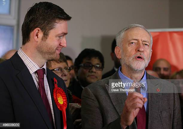 Labour party leader Jeremy Corbyn stands alongside Labour candidate Jim McMahon speak during a launch event at the party's campaign centre on...