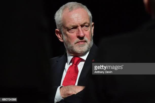 Labour Party leader Jeremy Corbyn takes a break between media interviews as the Labour Party launch their General Election campaign at Event City on...