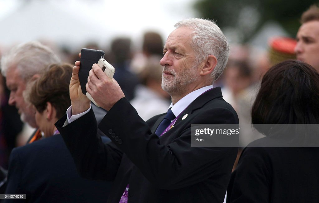 Labour Party leader <a gi-track='captionPersonalityLinkClicked' href=/galleries/search?phrase=Jeremy+Corbyn&family=editorial&specificpeople=2596361 ng-click='$event.stopPropagation()'>Jeremy Corbyn</a> takes a picture during the Commemoration of the Centenary of the Battle of the Somme at the Commonwealth War Graves Commission Thiepval Memorial on July 1, 2016 in Thiepval, France. The event is part of the Commemoration of the Centenary of the Battle of the Somme at the Commonwealth War Graves Commission Thiepval Memorial in Thiepval, France, where 70,000 British and Commonwealth soldiers with no known grave are commemorated.