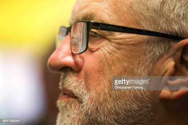 Labour Party Leader Jeremy Corbyn talks to clients and staff during a visit the Hope Centrein Northampton South which helps to tackle homelessness...