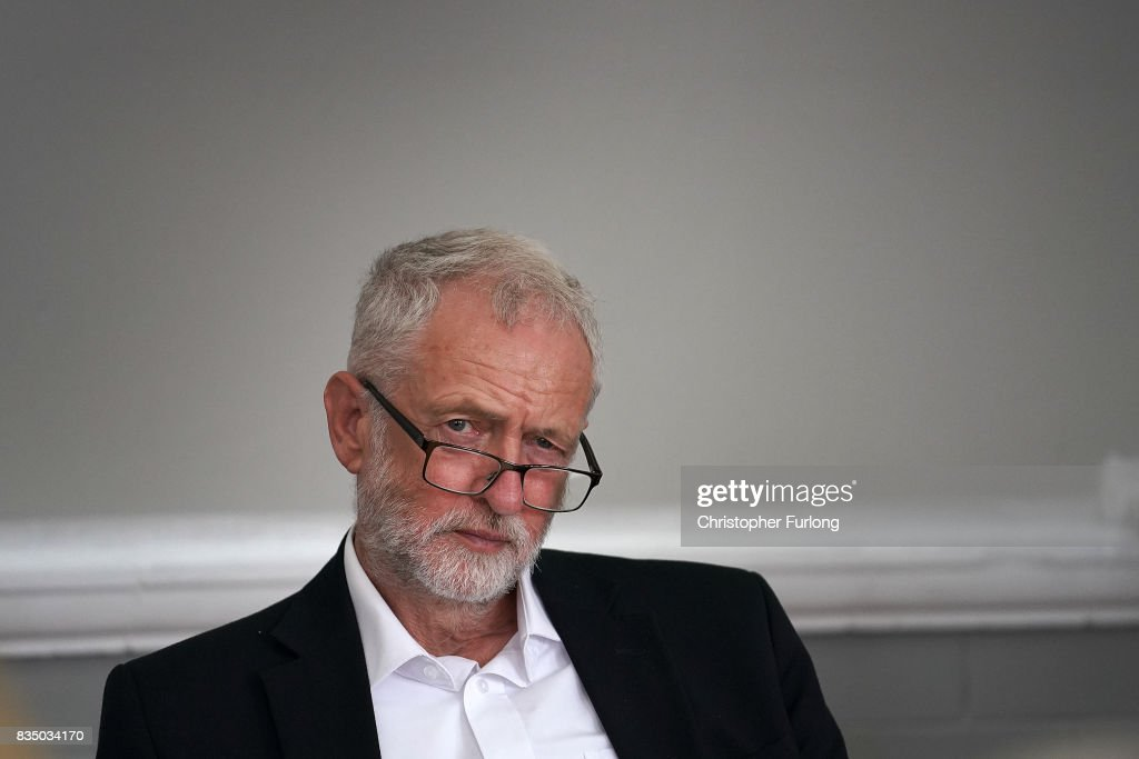 Labour Party Leader Jeremy Corbyn talks to members of Women Against State Pension Inequality Campaign (WASPI) during his visit to Cleveleys Community Centre on August 18, 2017 in Blackpool, England. Jeremy Corbyn is touring the UK visiting marginal seats.