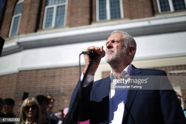 Labour party leader Jeremy Corbyn talks to supporters and members of the public in Market Square Crewe on April 22 2017 in Crewe United Kingdom In an...