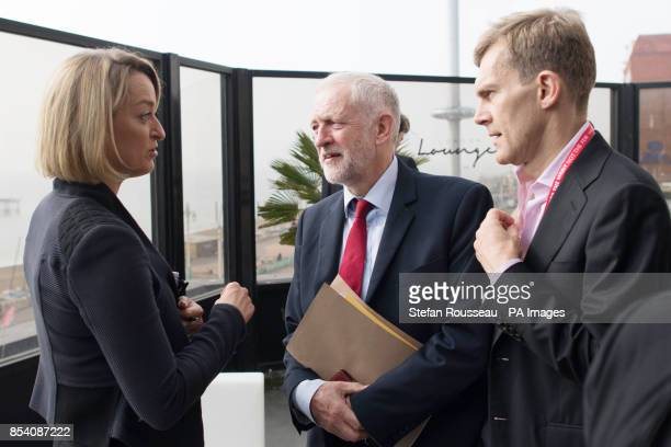 Labour Party leader Jeremy Corbyn talks with BBC political editor Laura Kuenssberg whilst watched by advisor Seamus Milne after an interview at the...
