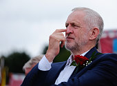 Labour Party leader Jeremy Corbyn waits for his turn to speak during the 132nd Durham Miners Gala on July 9 2016 in Durham England More than two...