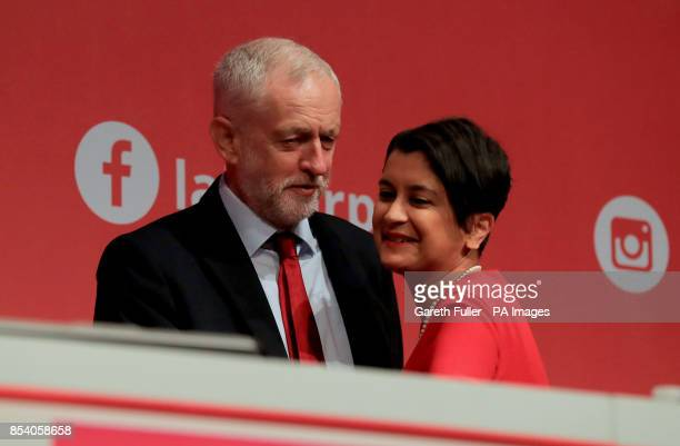 Labour Party leader Jeremy Corbyn with Shadow Attorney General Baroness Chakrabarti during their annual conference at the Brighton Centre Brighton